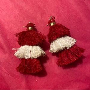 Red and white statement earring